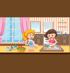 Scene with two girls washing dish in the kitchen vector
