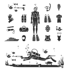 Scuba diving equipment vector image