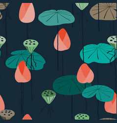 seamless background lotus in pond vector image