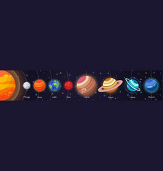 set of flat doodle cartoon icons planets of vector image