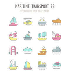 Set retro icons maritime transport vector