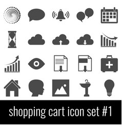 shopping cart icon set 1 gray icons on white vector image