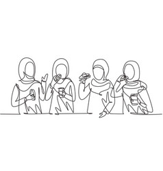 Single continuous line drawing arabian friends vector