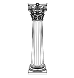 Single greek column isolated on white vector image