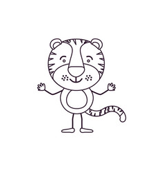 Sketch contour caricature of cute tiger vector