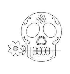 skull with flower in the mouth the day of the vector image