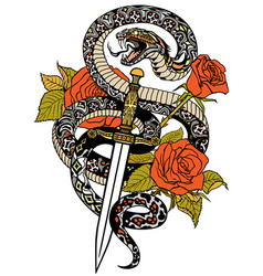 Snake dagger and roses tattoo vector