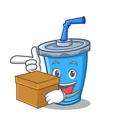 Soda drink character cartoon with box vector
