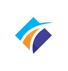 square business finance arrow logo image vector image