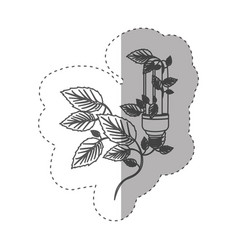 sticker with grayscale contour with fluorescent vector image