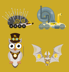 Stylized metal steampunk mechanic robots animals vector