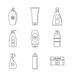 sunscreen sun protect icons set outline style vector image