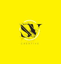Sv letter logo with vintage grundge drawing vector