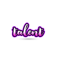 Talent calligraphic pink font text logo icon vector