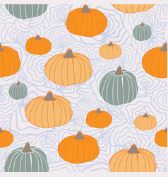 thanksgiving pumpkins orange green blue on organic vector image