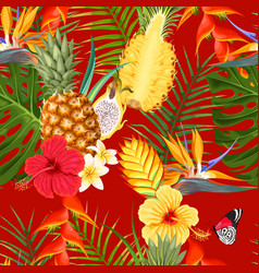 tropical flowers and fruit seamless vector image