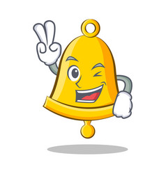 Two finger school bell character cartoon vector