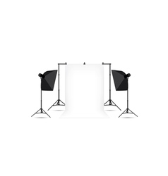 Two softboxes and white photo background vector