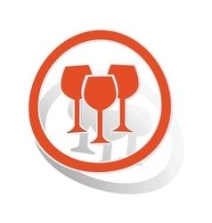 Wine glass sign sticker orange vector