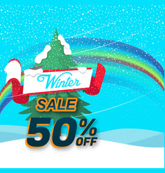 Winter sale rainbow background image vector