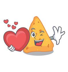 With heart nachos mascot cartoon style vector