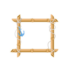 wooden square frame made of bamboo sticks with vector image