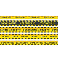 yellow caution stripes quarantine coronavirus or vector image