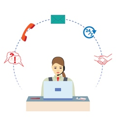Female working in a call center vector image vector image