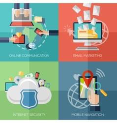 Flat design concepts for online communication vector image vector image
