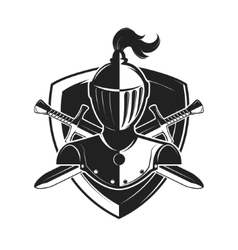 Knight helmet with two swords and shield isolated vector image vector image