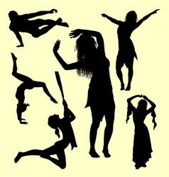 male and female gesture silhouette vector image vector image