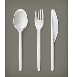 Plastic cutlery vector image