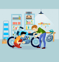 repair motorcycle composition vector image