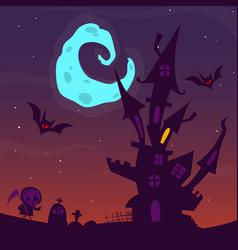 spooky old ghost house halloween cartoon vector image vector image