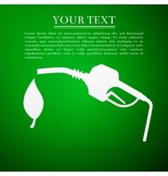 Bio fuel symbol flat icon on green background vector image