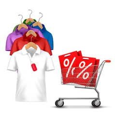 Clothes hanger with shirts with price tag Concept vector image