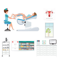 Doctor checking patient on gynecological chair in vector