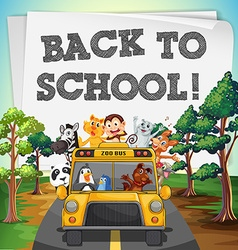 Back to school theme with animals on bus vector image vector image