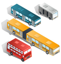 modern city buses isometric collection vector image vector image
