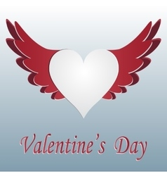 Red and white heart with wings cut on gradent vector image vector image