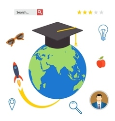 Set icons for education online professional in vector image
