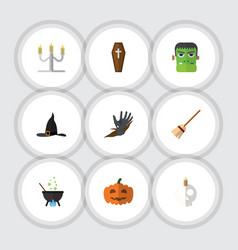 flat icon halloween set of zombie cranium gourd vector image