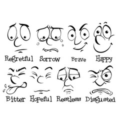 human face with different emotion vector image