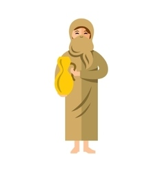 Muslim woman with jug of water Flat style vector image