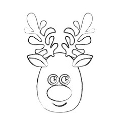 silhouette blurred cartoon cute face reindeer vector image vector image
