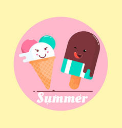 with ice cream and a phrase vector image vector image