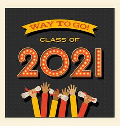 2021 graduation card graduates waving diplomas vector