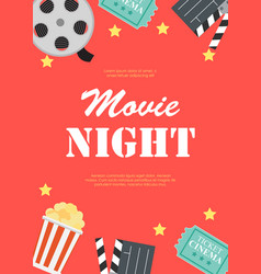 abstract movie night cinema flat background with vector image