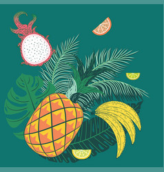 Abstract pineapple with exotic leaves vector