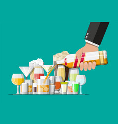Alcohol drinks collection in glasses vector